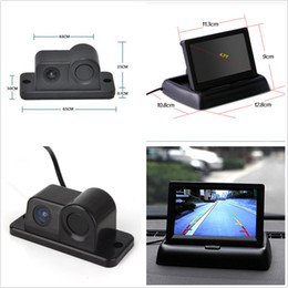 "Wholesale Monitor Rear View Reverse Sensors - Car Reverse Parking Camera With Radar Sensor&4.3"" Foldable LCD Rear View Monitor Free shipping"