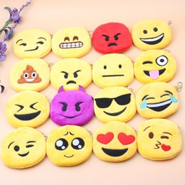 Wholesale Wholesale Cute Coin Purses - Emoji Coin Purses Cute Expressions Coin Bags Plush Pendant Womens Girls Creative Chirstmas Gifts Kids New Arrival