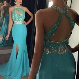 Wholesale Turquoise Dresses Straps - 2016 Sexy Turquoise High Slit Sexy Prom Dresses Halter Neck Crystal Applique Blue Evening Gowns Sexy Backless Party Celebrity Dresses