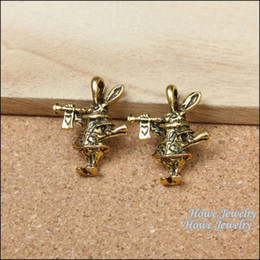 Wholesale Diy Charms Bunny - 9pcs Vintage Smoking Bunny Antique Gold plated Fit Bracelets Necklace DIY Metal Jewelry Making R023