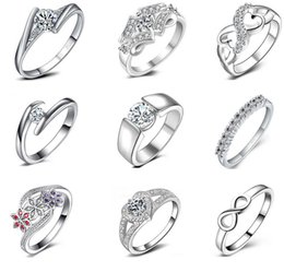Wholesale Brilliant Silver White - 925 sterling silver Diamond Wedding Rings for women White gold round brilliant wedding band wedding Ring eternity band High quality jewelry