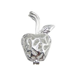 Wholesale Copper Apple - Pearl cage necklace pendant, essential oil diffuser, apple provides silver-plated 10pc - plus your own pearl, stone makes it more attractive
