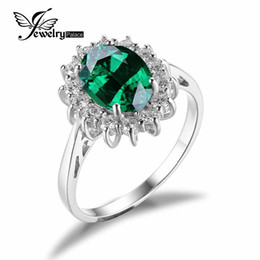 Wholesale Princess Diana Ring Sterling Silver - Wholesale-Green Nano Russian Emerald Princess Diana Engagement Wedding Ring For Women Solitaire Genuine 925 Sterling Silver Fashion 2015