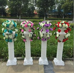 Wholesale roman supplies - 98 cm Height Hollow white Plastic Roman Column with Decorative flower for Wedding Welcome Area Decoration Photo Booth Props Supplies