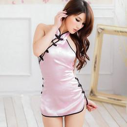 Wholesale Cheongsam Back - Wholesale- 2015 Sexy Women Halter Backless Cheongsam Satin Nightdress Nightgown Sleepwear Lingerie Underwear + T-back 88 -MX8