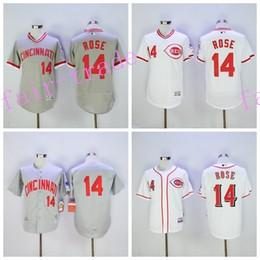 Wholesale Cheap Baseball Pullovers - Cincinnati Reds 14 Pete Rose Jersey Flexbase Vintage Throwback Pullover White Grey Red Cool Base 1976 Cooperstown Jerseys Wholesale Cheap