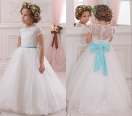 Wholesale Turquoise Girls Dress - 2017 Lovely White Flower Girls Dresses for Weddings with Turquoise Bow Sash Princess Ball Gown Lace Kids Wedding Dress