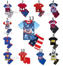 Wholesale Avengers Characters - Boys Bat spiderman Pajamas suits 13 Design children Super hero Avengers Captain America Iron Man Short sleeve + shorts 2pcs suit B