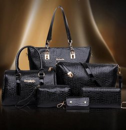 Wholesale Wholesale Womens Designer Bags - 2016 Fashion Crocodile Leath Womens Handbags Designer Handbags Hottest Totes Luxury Handbag Genuine PU Leather Shoulder bag 6pcs Set