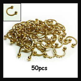Wholesale Nose Rings Men - 50pcs free shipping multi-use nose rings stainless steel 1.2x10x3mm gold body piercing jewelry for men women eyebrow pircing
