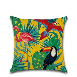 Wholesale Parrot Cushions Covers - 45X45cm Classic Parrot Cotton Linen Throw Pillow Case Car Sofa Bed Cushion Cover Shell Home Decor
