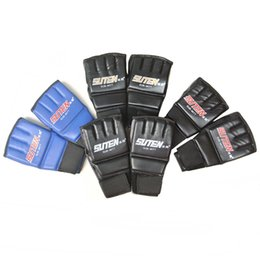Wholesale Boxing Gloves Weight - High quality PU Half finger Boxing Gloves Fitness Fighting Training Tools Kit 4 Colors Light Weight