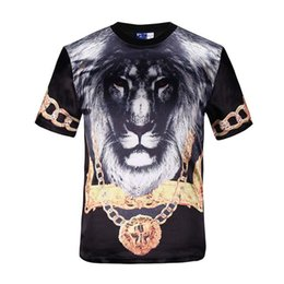 Wholesale Glossy Print - tshirt Classic Fashion T-shirt men tops short sleeve 3d print animals gold medal lion king glossy rayon t-shirt