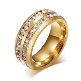 Wholesale Hot Sale Gold 18k - Hot Sale Double Rows Full Rhinestone CZ 18k Gold Color Titanium Steel Rings