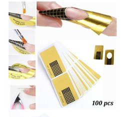 Wholesale Curl Forms - 100pcs set Nail Art Extension Sticker Guide Form Acrylic Professional Nail Tools Gel Nail Polish Curl Tips For Women