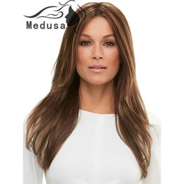 Wholesale Long Layers Wig - Medusa hair products: Free shipping Beautiful Synthetic pastel wigs for women Long layers straight brown mono wig with bangs