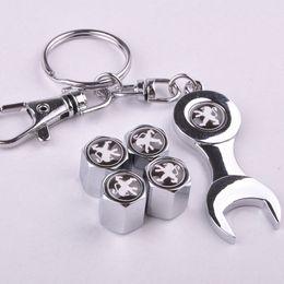 peugeot neues auto Rabatt Neue Heiße Verkauf Auto Rad Reifen Ventilkappen mit Mini Wrench Keychain für Peugeot (4-teilig / Pack)