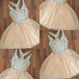 Wholesale Evening Dresses For Little Girls - Champagne Colorful Beaded Homecoming Dresses 2017 V Neck Sleeveless Short Party Evening Gowns Knee Length Prom Formal Dresses For Girl