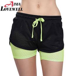 Wholesale Womens Black Spandex Shorts - Wholesale-Womens Running Shorts 2 In 1 Running Tights Short 2016 Women's Gym Cool Woman Sport Short Fitness Running Shorts