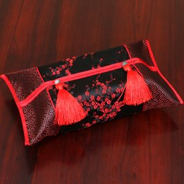 Wholesale Fabric Damask - Wholesale- Creative Patchwork Tassel Facial Kleenex Boxes Cover High End Luxury Damask Fabric Chinese style Removable Napkin Tissue Cases