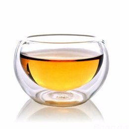 Wholesale Double Wall Heat Resistant Glasses - High Quality 50ML 6PCS Elegant Clear Glass Drinking Cup Heat Resistant Double Wall Layer Glass Tea Cup Water Cup For Flower Tea