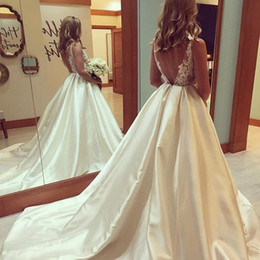 Wholesale Wedding Satin Color Chart - 2017 Plus Size Satin Wedding Dress Sheer Top See Through Lace Appliques Tulle Bodice Bateau Neck Sleeveless Sexy Backless Bridal Gowns