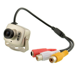 Wholesale Ntsc Cctv Camera - Mini CCTV 700TVL Wired Video Color Infrared CCTV Security Camera MIC 3.6mm Lens 6pcs LEDs
