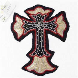 Wholesale Patches Sewn - 28cm*34cm Flower Cross Sequins Sew On Patches Paillette Beads Embroidered Cloth Applique Badge Fabric Apparel Sewing Crafts DIY 2016 NEW