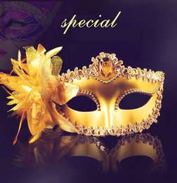 Wholesale Gold Masquerade Ball Masks Wholesale - Gold Lace Flower Venetian Halloween Masquerade Ball Carnival Eye Masks Party