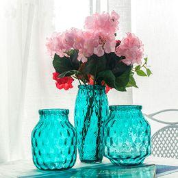 Mesas de cubo on-line-Simples moderno cubo de água azul vaso de vidro hidroponia transparente pequeno e fresco arranjo de flores tabela jardiniere
