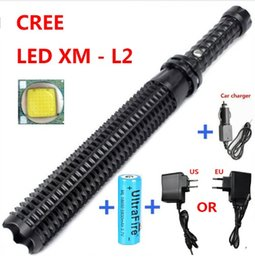 Wholesale Flash Drive Led Light - New Arrival Powerful led flashlight 18650 CREE XM L2 self defense Patrol LED rechargeable flash light