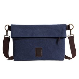 Wholesale Cross Body Bags For School - Wholesale- High quality vintage satchel bag male crossbody bags solid canvas mens messenger shoulder pack for travel and school wholesale