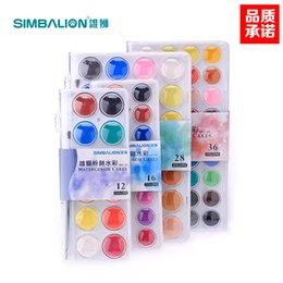 Wholesale Pet Papers - DHL & SF_EXPRESS Watercolor set 12 16 28 36 Colors Solid Colors Set Outdoor Painting Pigment +1 paintbrush