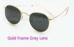 Wholesale Round Sunglasses Brands - epacket High quality Men Women Fashion Sun Glasses ROUND METAL Classic Sunglasses Glass lenses Brand designer With Black Box