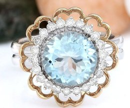 Wholesale Diamond Aquamarine Engagement Rings - 4.20CT SYNTHETIC AQUAMARINE AND DIAMOND ENGAGEMENT RING 14K MULTI TONE GOLD