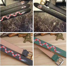 Wholesale Formal Men Fashion - Luxury Brand Designer Belts for men Fashion High quality snake tiger bee pattern Black and green Genuine leather buckle belt for women B526