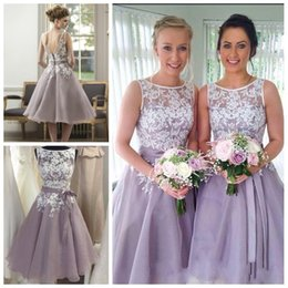 Wholesale Spring Bridesmaid Dresses Free Shipping - White and Lilac Bridesmaid Dresses 2016 Cheap Tea Length Lace Organza Maid Of Honor Dresses Formal Prom Evening Gown Free Shipping
