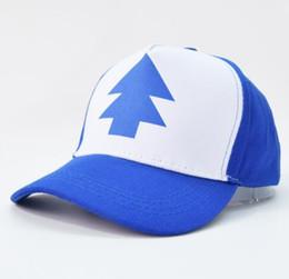 Wholesale Trees Snapback - 2017 Fashion Gravity Falls Baseball Cap BLUE PINE TREE Hat Cartoon Trucker Snapback Cap New Curved Bill Dipper Adult Men Dad Hat