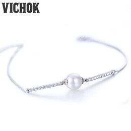 Wholesale Natural White Pearl Ring - 925 Sterling Silver Pearl Bracelet Chain Link Bracelets Luxury Anniversary Trendy Jewelry Gifts For Girls Natural Pearl Bracelet VICHOK