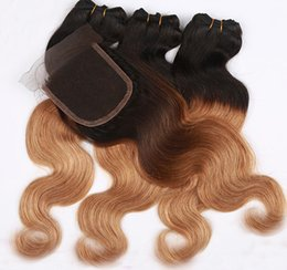 Wholesale Side Parting Brazilian Hair Closure - Hot selling human hair weave,Brazilian Malaysian Peruvian human hair,4x4'' lace closure with 3hair bundles,free middle side part closure
