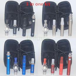 Wholesale Single Glass Brush - FREE BRUSH Brand new 3 in1 DUAL COIL KIT 1100 mAh Vape Pen changeable wax vaporizer pen Tanks-BLACK