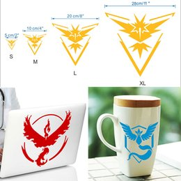 Wholesale Team Sky Wholesale - Poke go Team Valor Mystic Instinct Articuno Moltres Zapdos Logo Wall Car Stickers Pocket Monster Decal Film iphone Laptop PC Samsung WX-S12