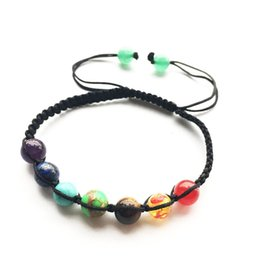 Wholesale Mens Weave Bracelet - 2017 Hot Yoga Stone Beaded Mens Bracelets Fashion 7 Color Natural Stone Charm Jewelry Weaving Stone Cuffs Bangles Rope Bracelet