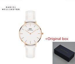 Wholesale Rose Style Box - 2017 Top Luxury Brand Daniel Women Watches Wellington Fashion Leather Style 32mm Rose Gold Woman Watches With Gift Box relogio feminino