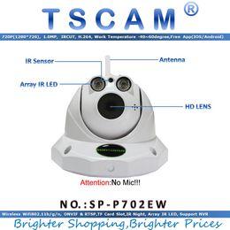 Wholesale Dome Cctv Sd - TSCAM SP-P702EW ONVIF HD 720P 1.0MP Wifi Dome IP Camera Wireless CCTV Camera IR Night Vision P2P with Micro SD Card Slot