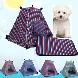 Impermeabilizzazione per tende online-Summer Pet Dog Cat Kennel rimovibile Staccabile Impermeabile Impermeabile Oxford Panno Pet Tent Stripe Style Stile All'aperto Viaggi Pet Letto Forniture WX-G17
