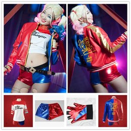 Wholesale Clown Clothes - 2016 NEW movie Suicide Squad Harley Quinn female clown cosplay costume clothing halloween anime coat jacket 4pcs set uniform