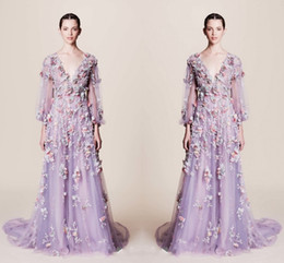 Wholesale Images Fairy Lights - Fairy Colorful Applique V Neck Prom Dresses 2017 Light Purple Illusion Long Sleeve Tulle A Line Evening Gowns Custom Made Formal Party Dress