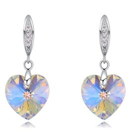 Wholesale Earring Blue Heart - Heart Crystal Fashion Dangle Earrings Made with Swarovski Elements Blue Rhinestone Long Drop Earrings Jewelry For Women Accessories 23888