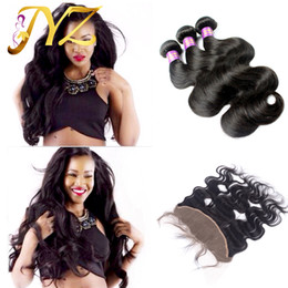 Wholesale Indian Remy Lace Frontals - Virgin Malaysian Body Wave Hair With Lace Frontal Closure 13x4 Bleached Knots 4Pcs Lot Malaysian Hair Weave Bundles 3Pcs With Frontals